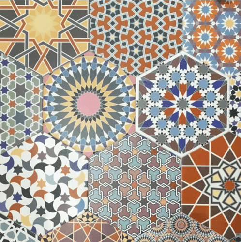 colourful hexagon tile