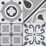 Nogias Victorian Grey Encaustic Effect Tile