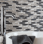 Oblique Graphite Mosaic Tiles