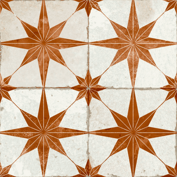 Octagram Ginger Heritage Encaustic Wall & Floor Tile