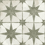 Octagram Olive Heritage Encaustic Wall & Floor Tile