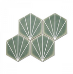Pastel Green Hexagon Pattern Tiles