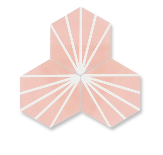Pastel Pink Hexagon Pattern Tiles