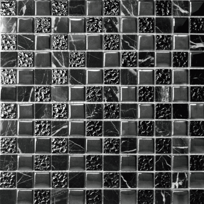 Peru Black Glass And Marble Mosaic Tiles