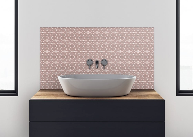 Pink Cube Effect Gloss Hexagon Mosaic Tiles