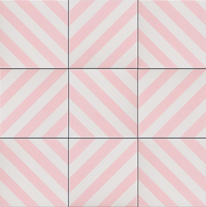 Pink Diamond Stipe Patterned Tile