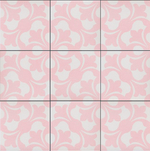 Pink Floral Rose Patterned Tile
