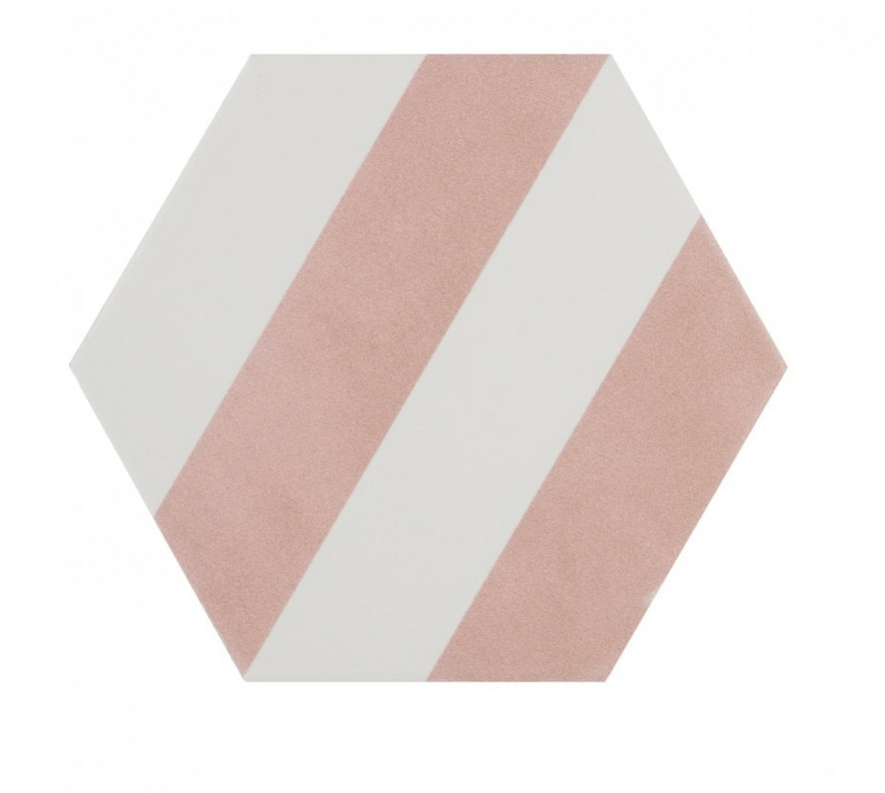Pink Stripe Hexagon Tiles