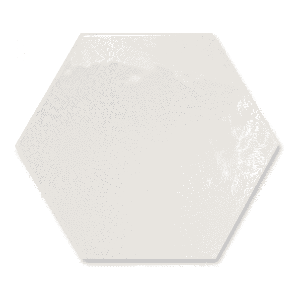 Rippled White Gloss Hexagon Tiles