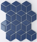 Royal Blue Cube Effect Gloss Hexagon Mosaic Tiles