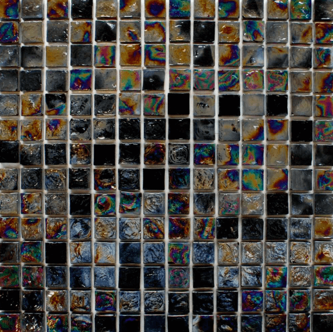 Rustic Black Glass Mosaic Tiles