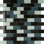 Small Brick Black Glass Mosaic Tiles