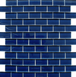 Small Brick Blue Glass Mosaic Tiles