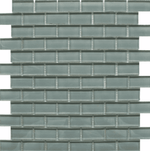 Small Brick Grey Glass Mosaic Tiles