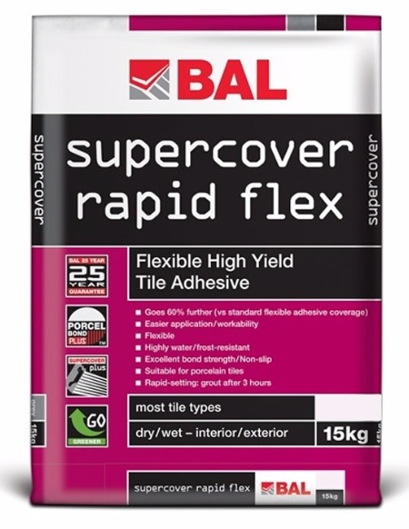Super Cover Flexible Rapid Set White Adhesive 15kg