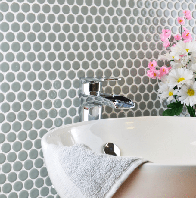 Tala Grey Circle Matt Mosaic Tiles