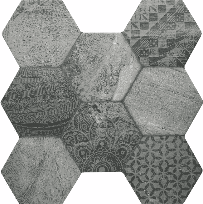 tribal-mono-hexagon-tiles