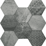 Tribal Mono Hexagon Tiles