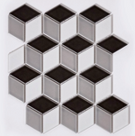 Urban Mix Cube Effect Gloss Hexagon Mosaic Tiles