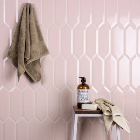 Verti Bevelled Pink Wall Tiles