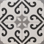Vintage Grey Pattern Derby Encaustic Effect Tile