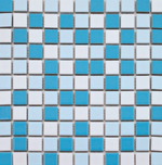White And Blue Mix Mosaic Tiles