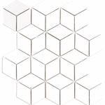 White Cube Effect Gloss Hexagon Mosaic Tiles