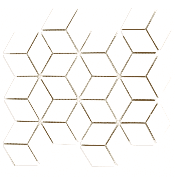 White Cube Effect Matt Hexagon Mosaic Tiles