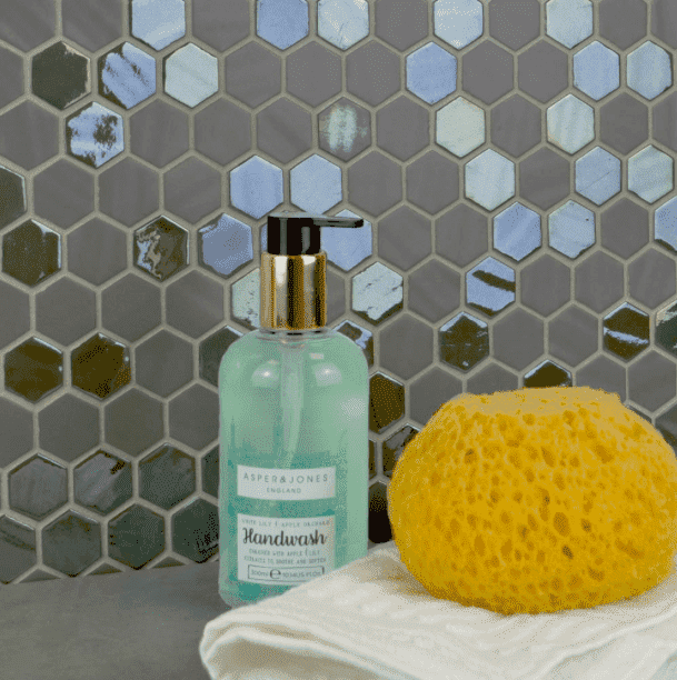 Wold Coat Mix Glass Hexagon Mosaic Tiles