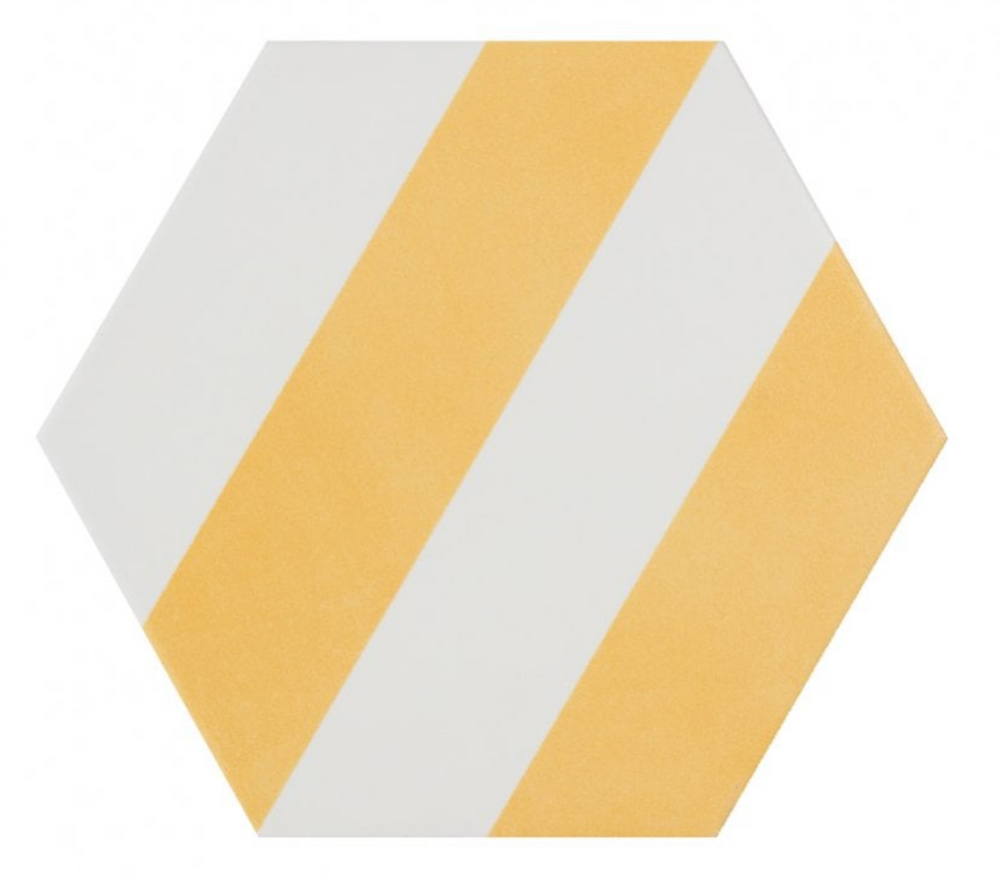 Yellow Stripe Hexagon Tiles