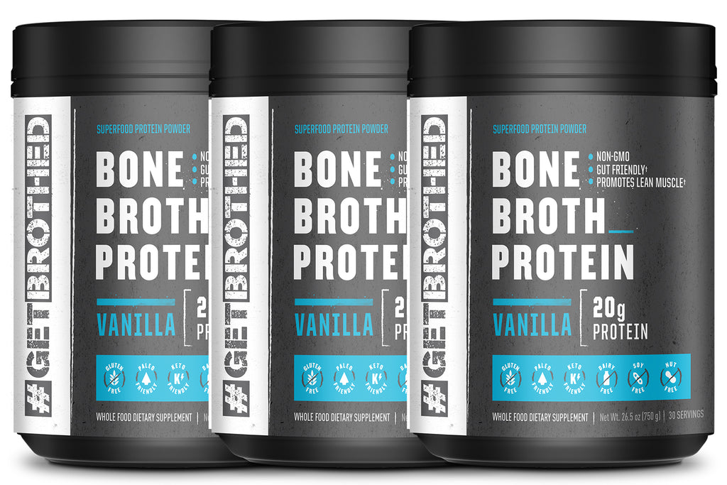 GetBrothed Bone Broth Protein™ - 3- Pack 90 Servings Vanilla