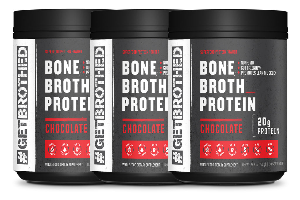 GetBrothed Bone Broth Protein™ - 3-Pack 90 Servings Chocolate