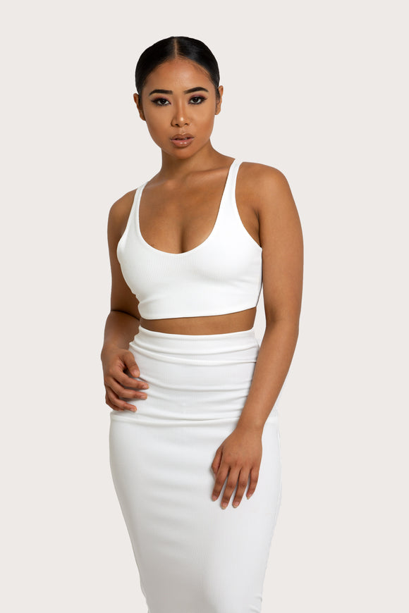 Two Piece Set Dress - Women's White Midi Dress - Badgalonline.com