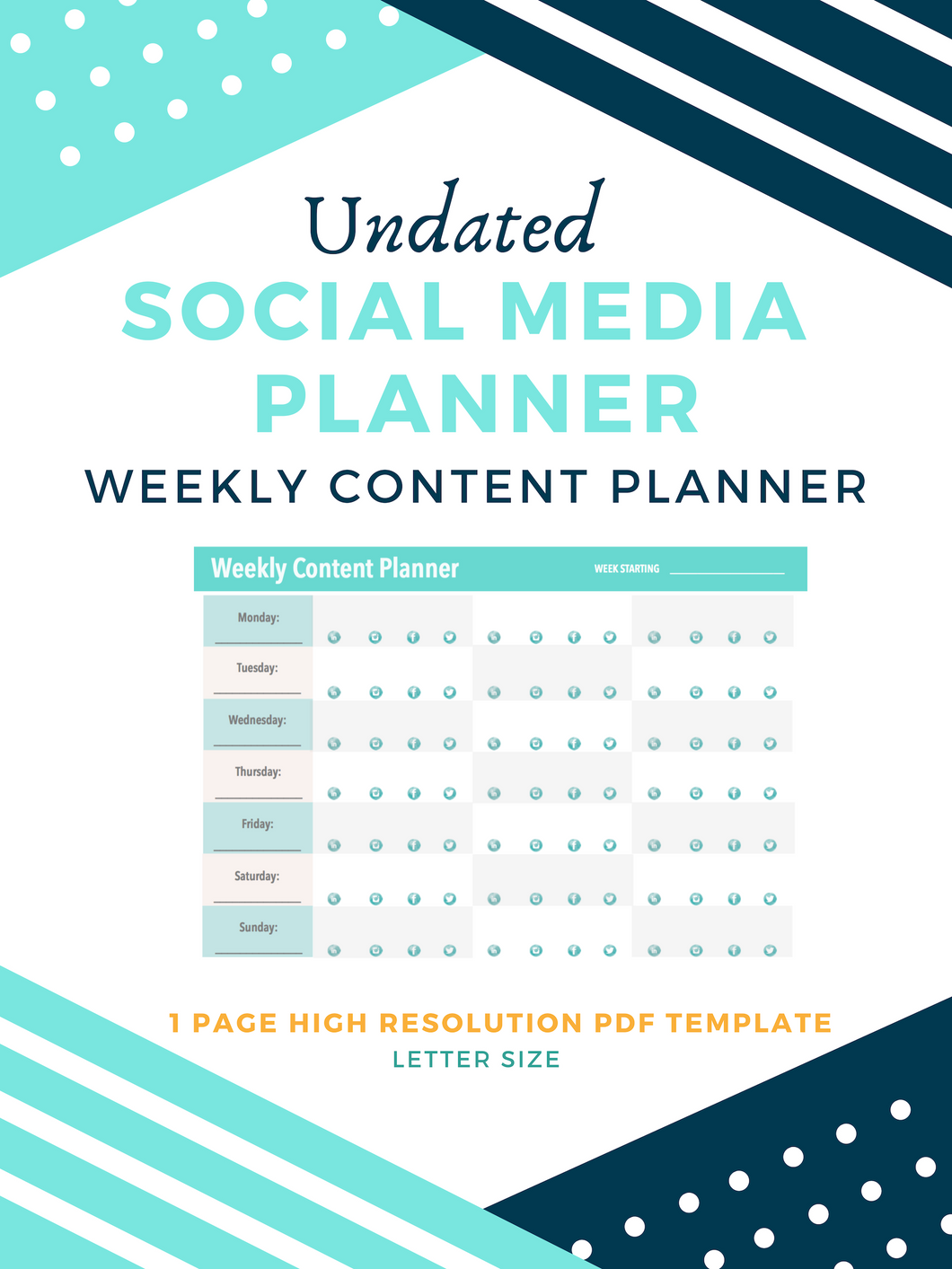 Weekly Social Media Calendar (UNDATED)