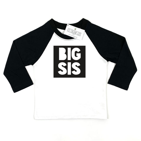 BIG SIS RAGLAN - BLACK AND WHITE