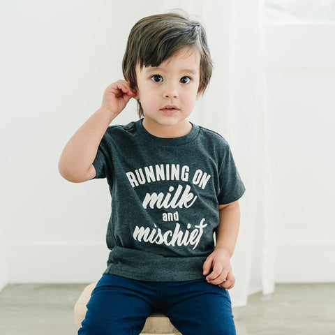 RUNNING ON MILK AND MISCHIEF KID SHIRT