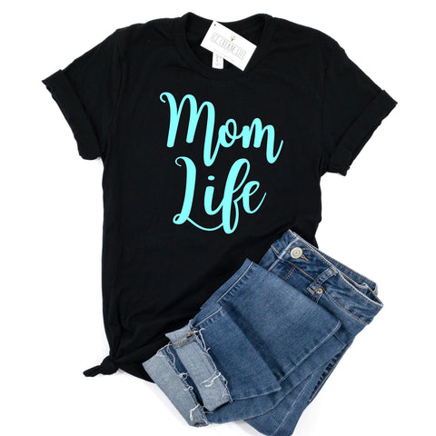 MOM LIFE SHIRT - MINTY BLUE ON BLACK TEE
