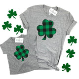 PLAID SHAMROCK - KIDS TEE