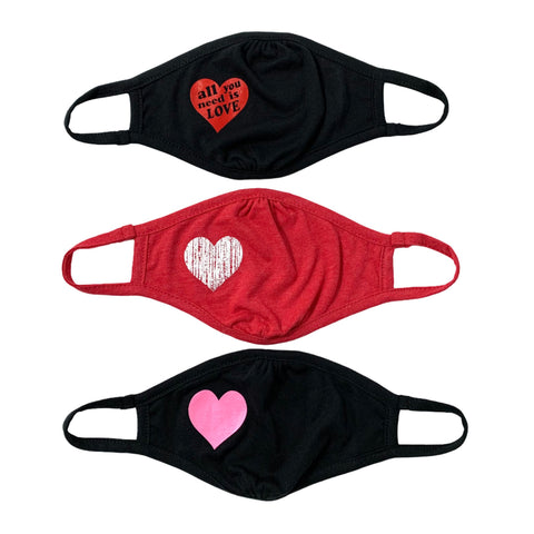 HEART FACE MASK - YOUTH AND ADULT SIZES