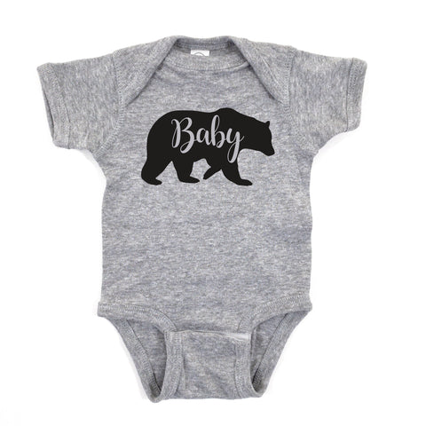 BABY BEAR ONESIE BODYSUIT • GRAY