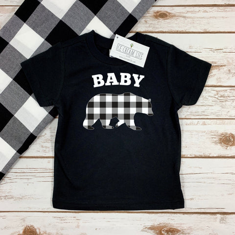 BABY BEAR BUFFALO PLAID KIDS TEE