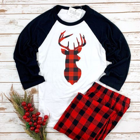 BUFFALO PLAID DEER ADULT RAGLAN SHIRT