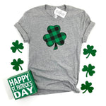 PLAID SHAMROCK TEE - KID AND ADULT SIZES