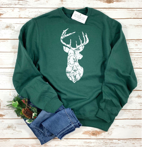 VINTAGE DEER HEAD ADULT SWEATSHIRT - Ice Cream Life