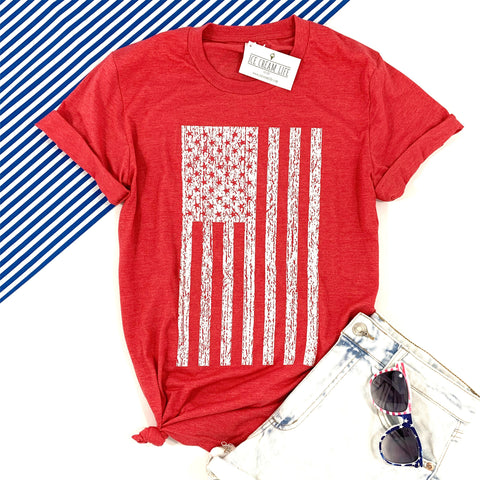 DISTRESSED FLAG ADULT SHIRT