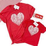 DISTRESSED HEART RED TEE - KID AND ADULT SIZES