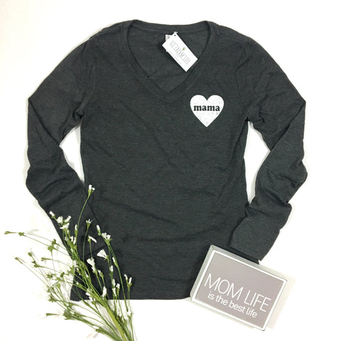 MAMA HEART CHARCOAL V-NECK LONG SLEEVE SHIRT - Ice Cream Life