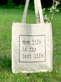MOM LIFE IS THE BEST LIFE JUMBO CANVAS TOTE BAG