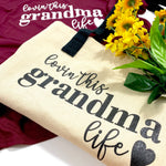 LOVIN THIS GRANDMA LIFE BLACK STRAP CANVAS TOTE BAG - Ice Cream Life