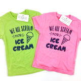 WE ALL SCREAM FOR ICE CREAM KID SHIRT • LIME GREEN